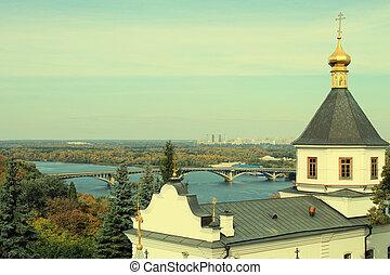 view of Dnipro and Kyiv-Pechersk Lavra, Kyiv, Ukraine -...