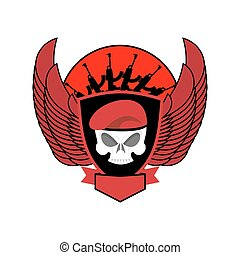 Military emblem Skull in beret. Wings and weapons. Army...