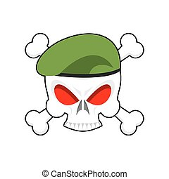 Skull in beret military emblem. Army cap and head of skull. Terrible sign for clothing soldiers