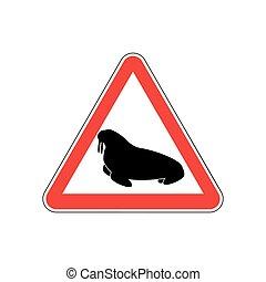 Walrus Warning sign red. Seal Hazard attention symbol....