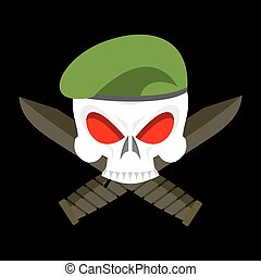 Skull in beret military emblem. Army cap and knife. Terrible sign for clothing soldiers