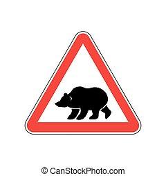 Bear Warning sign red. Predator Hazard attention symbol....
