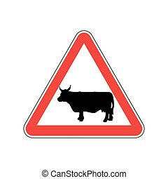 Cow Warning sign red. Farm Hazard attention symbol. Danger...