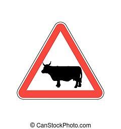 Cow Warning sign red. Farm Hazard attention symbol. Danger...