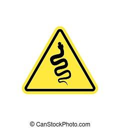 Snake Warning sign yellow. Venomous serpent Hazard attention...