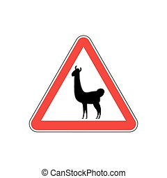 Lama Warning sign red. llama Hazard attention symbol. Danger...