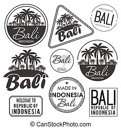Stamp or label with the name of Bali Island, vector illustration