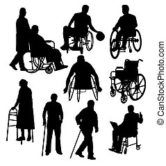 Silhouettes Activity People with Disabilities, art vector...