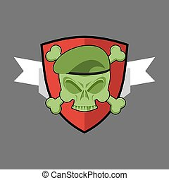 Military emblem. Army logo for special troops. Soldiers badge. Skull in beret. Crossbones and skeleton head