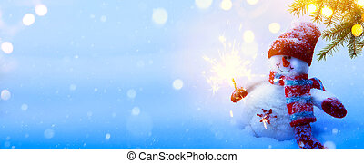 Christmas holidays composition on blue snow background with...