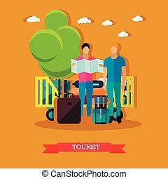 Vector illustration of tourists with baggage after arrival, flat style.