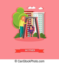 Vector illustration of mother swinging her son in the playground.