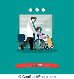 Vector illustration of nurse carrying patient in wheelchair,...