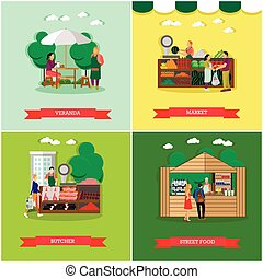Vector set of shopping market posters, banners in flat...