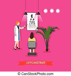 Vector illustration of optometrist checking patients vision...