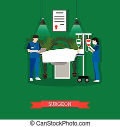 Vector illustration of surgeon, nurse and patient in operating room
