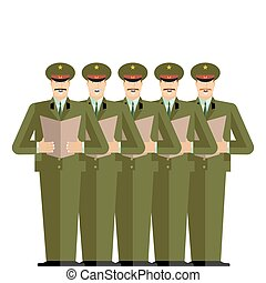 Military Choir. Officers sing songs. war band. Army...