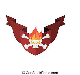 Military emblem Skull and crossbones and fire. shield and ribbon. Heraldic sign.