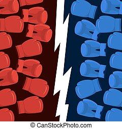 Boxing Battle team. Blue vs Reds. Gloves hit hitting. Poster...