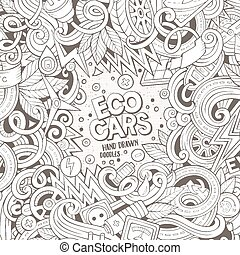 Cartoon doodles electric cars frame design - Cartoon cute...