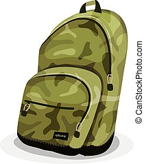 Schoolbag With Camouflage Patterns - Illustration of a...