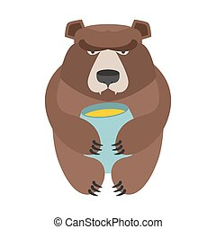 Bear and honey barrel. Cute wild animal and food. Forest predator