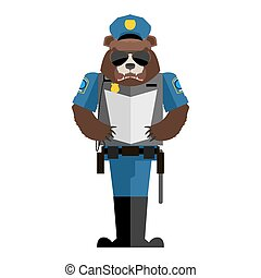 Bear policeman. Wild animal police form. Cap and body armor. grizzly in service of law. Cop Forest predator
