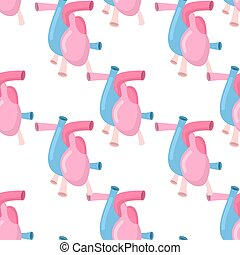 Heart anatomy body seamless pattern. Atrial and ventricular pattern. Veins and arteries background. Anatomical texture