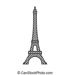 Eiffel tower isolated. Paris attractions. Landmark of France...