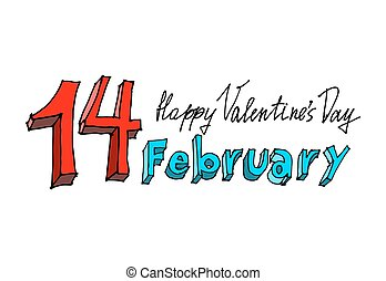 14 February lettering. Valentines Day emblem. Typography for...