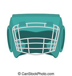 Boxing helmet green. Boxer mask isolated. Spor Accessory for...