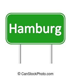 Hamburg road sign. - Hamburg road sign isolated on white...