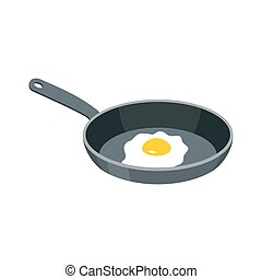 Omelette in frying pan. Fried egg for breakfast