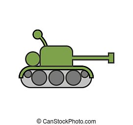 Tank childs drawing style. Fighting war machine isolated