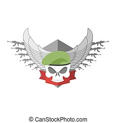 Army logo Skull. Soldiers badge. Military emblem. Wings and...