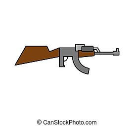 Machine gun childs drawing style. Arms on white background....