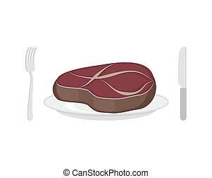 Steak on plate. Fried piece of meat. Fresh juicy pork or beef