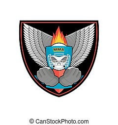 Boxing logo. Sports emblem. Skull and boxing gloves. Protective helmet. Sign for sports team and club