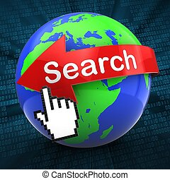 3d world on digital background search text