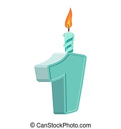 1 year birthday. Figures with festive candle for holiday cake. one Anniversary