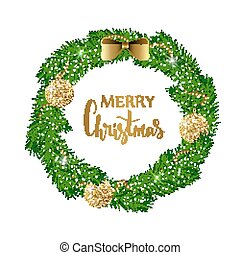 Festive Christmas wreath with gold shiny balls, beads and bow. Hand drawn holiday lettering.