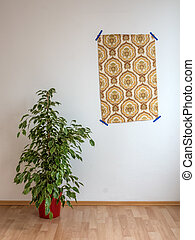apartment with wallpaper and flowers stock - new apartment...