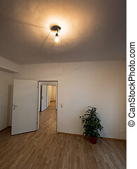 empty apartment with flowers stock