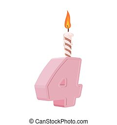 4 years birthday. Number with festive candle for holiday cake. fourAnniversary
