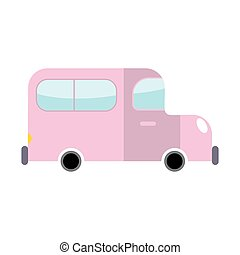 Car pink isolated. Transport on white background. Auto in...