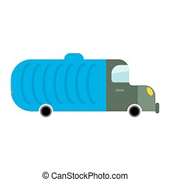Grbage truck isolated. Trash automobile on white background....