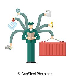 Russian Customs Service at work. officer job. Checking of cargo. Delivery and weighing. Declaration and agreement. Passport control