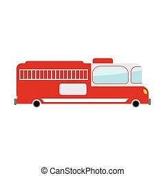 Fire truck isolated. Transport on white background. Car in cartoon style