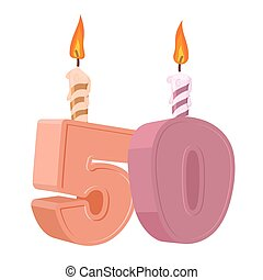 50 years birthday. Number with festive candle for holiday cake. fifty Anniversary