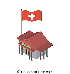 Swiss bank. Financial building and flag of Switzerland